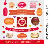 happy valentines day cards set... | Shutterstock .eps vector #167366474