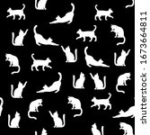 black and white cat pattern on... | Shutterstock .eps vector #1673664811