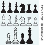 chess icons isolated on blue... | Shutterstock .eps vector #167367161
