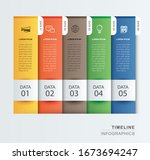 5 data infographics tab paper... | Shutterstock .eps vector #1673694247