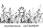 Black And White Grass. Vector