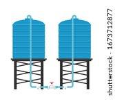 blue water tank. water tank... | Shutterstock .eps vector #1673712877