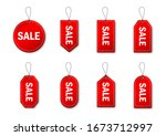 set of red sale tags and labels.... | Shutterstock .eps vector #1673712997