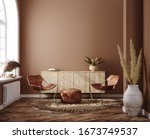Home interior with ethnic boho decoration, living room in brown warm color, 3d render