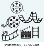 movie icons isolated on blue... | Shutterstock .eps vector #167379305