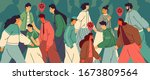 crowd of people in the city...   Shutterstock .eps vector #1673809564