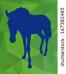 silhouette of horse on a green... | Shutterstock .eps vector #167382485