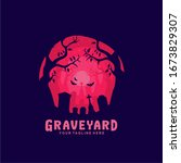 graveyard logo with flat design   Shutterstock .eps vector #1673829307