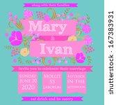 wedding invitation card | Shutterstock .eps vector #167383931