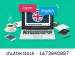 study english online on laptop...   Shutterstock .eps vector #1673840887