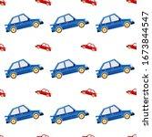 car vector seamless pattern.... | Shutterstock .eps vector #1673844547