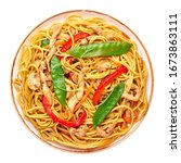 Small photo of Chicken Lo Mein isolated on white background. Lo Mein is Chinese cuisine dish with chicken meat, egg noodles, vegetables and sauces. Chinese Food. Stir Fried Noodles. Top view