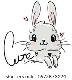 cute drawing bunny and heart.... | Shutterstock .eps vector #1673873224