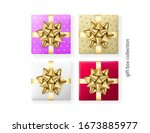 set of 4 colorful gift boxes ... | Shutterstock .eps vector #1673885977