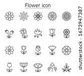 flower icon set in thin line... | Shutterstock .eps vector #1673947387