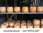 Flowerpot With Faces Showing...