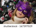 masquerade. beautiful girl in a ... | Shutterstock . vector #167397029