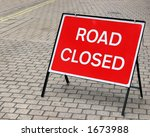 road closed sign in cobbled... | Shutterstock . vector #1673988