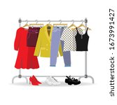 clothes hanger with different...   Shutterstock .eps vector #1673991427