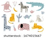 vector hand drawn colored... | Shutterstock .eps vector #1674015667