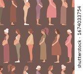pregnancy motherhood people... | Shutterstock .eps vector #1674033754