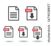 pdf file icon. pdf upload icon... | Shutterstock .eps vector #1674038857