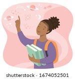 young black school girl holding ... | Shutterstock . vector #1674052501