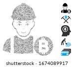line mosaic based on bitcoin... | Shutterstock .eps vector #1674089917