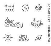 clean  renewable energy line... | Shutterstock .eps vector #1674104104