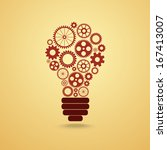 light bulb with gears and cogs... | Shutterstock . vector #167413007