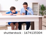 busy father helping his son to... | Shutterstock . vector #1674135304