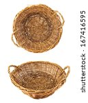 Brown wicker basket isolated over white background, set of two foreshortenings - stock photo