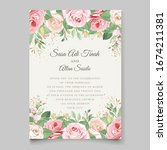 wedding card template with... | Shutterstock .eps vector #1674211381