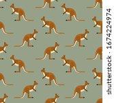 Seamless Pattern Kangaroo...