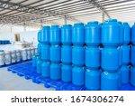 Blue Plastic Barrels Contain In ...