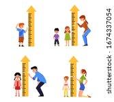 kid height measure chart set  ... | Shutterstock .eps vector #1674337054