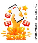 subscribe sticker template with ...   Shutterstock .eps vector #1674367717