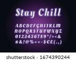stay chill neon light font... | Shutterstock .eps vector #1674390244