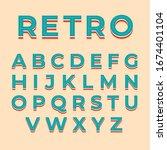alphabet 3d retro design typo   Shutterstock .eps vector #1674401104