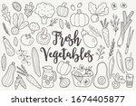 contour set of vegetables  ... | Shutterstock .eps vector #1674405877