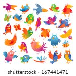 Funny Colorful Birdies. Vector...