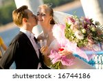 colorful wedding shot of bride... | Shutterstock . vector #16744186