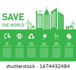 save the world eco tree concept.... | Shutterstock .eps vector #1674432484