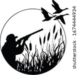Hunting for game birds. Hunters open season. Hunter aiming at the sky. A man holding a rifle. Shot at the ducks. Man hiding in the Bush. Tall grass. Wildlife. Black and white illustration.  - stock vector