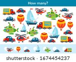 counting children game of toy... | Shutterstock .eps vector #1674454237