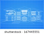 wireframe blueprint drawing of... | Shutterstock .eps vector #167445551