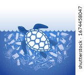 stop ocean plastic pollution....   Shutterstock .eps vector #1674458047