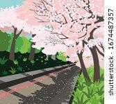 springtime concept. cherry... | Shutterstock .eps vector #1674487357