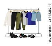 metal rack with casual men...   Shutterstock .eps vector #1674528244