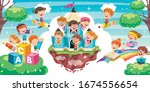 cute children playing at... | Shutterstock .eps vector #1674556654